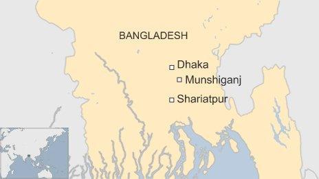 Map of Munshiganj district in Bangladesh