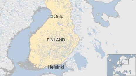 Map showing Oulu and Helsinki in Finland