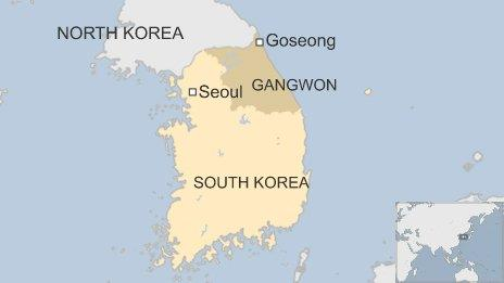Map showing Gangwon province in South Korea