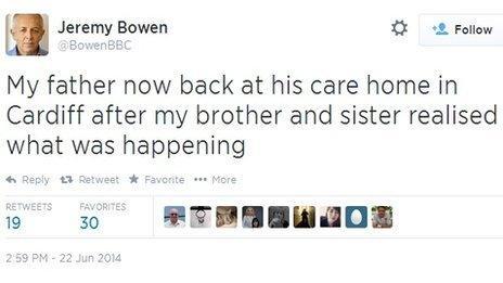 Jeremy Bowen ar Twitter