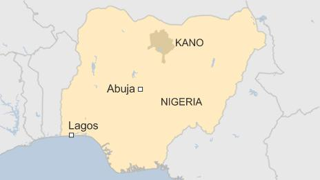 Map of Nigeria showing Kano state