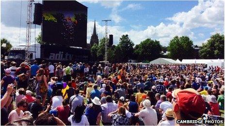 Tour de France fans on Parker's Piece in Cambridge