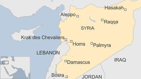 Map of Syria and historic sites