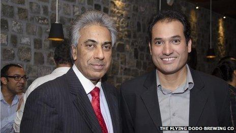 Oscar Olsen with the Mauritian Foreign Minister Dr. Arvin Boolell, at the opening of Flying Dodo Breweries in 2012