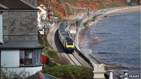 train at Dawlish