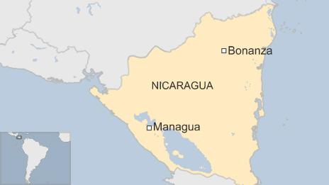 Map of Nicaragua showing the town of Bonanza and the capital Managua