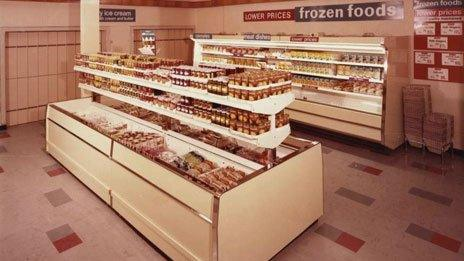 M&S food counter, 1974