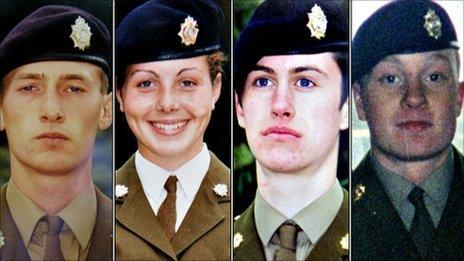 Privates Benton, James, Gray and Collinson, who all died at Deepcut