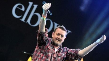 Elbow performing on the Pyramid Stage at Glastonbury Festival 2014