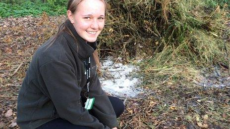 Zoe Wilson at the site of the discovery
