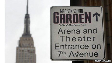 Madison Square Garden directions sign