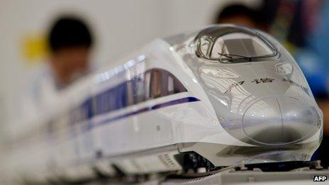 A model of the high-speed train CRH380A designed by China South Locomotive & Rolling Stock Corporation Limited (CSR)