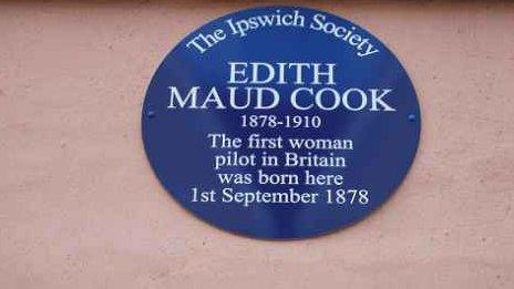Plaque marking birthplace of Edith Cook