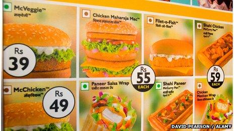 A menu showing different vegetable and chicken burgers in McDonalds in India
