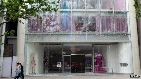 The outside of the now closed Barbie store