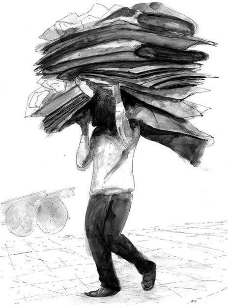 Man with cardboard