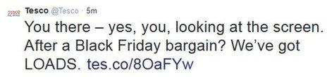 """A tweet from Tesco saying it has """"loads"""" of Black Friday bargains"""