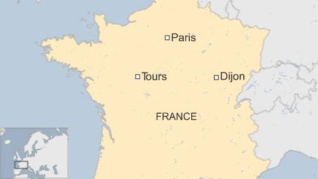 Map of France showing the capital, Paris, and the cities of Dijon and Tours - 22 December 2014