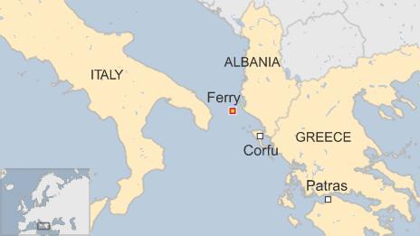 Greek ferry map