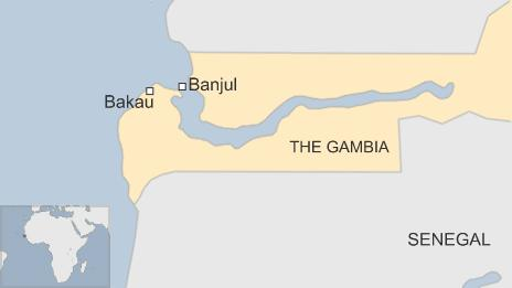 Map of The Gambia showing the capital Banjul and the town of Bakau - 30 December 2014