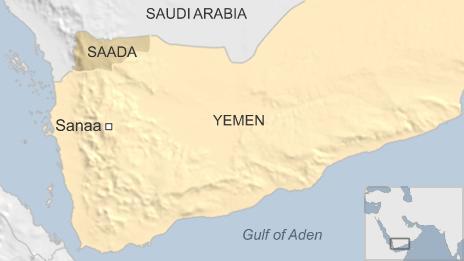 Map showing Saada in Yemen