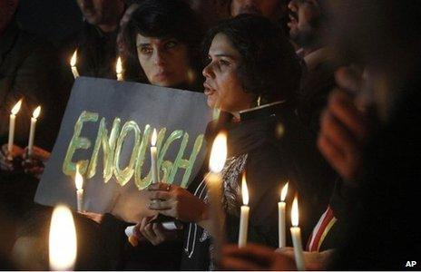 Pakistani candle light vigil for the victims of a school attacked by the Taliban in Peshawar, December 2014