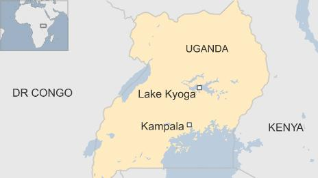 Map showing the location of Lake Kyoga in Uganda