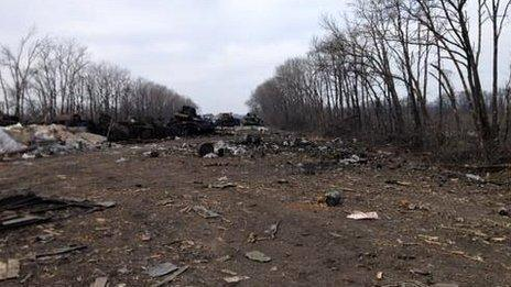 Evidence of recent fighting littered across a main road into Debaltseve in eastern Ukraine - 20 February 2015