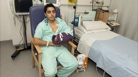 Ahmad Nawaz in hospital in Birmingham