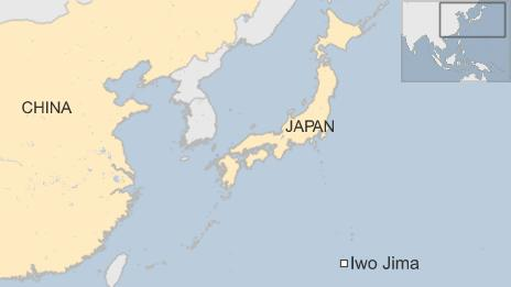 Map showing location of Iwo Jima and Japan