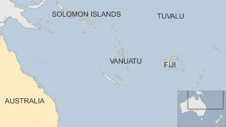 Map showing islands in the South Pacific at threat from Cyclone Pam - 13 March 2015