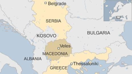 Map of Veles in Macedonia