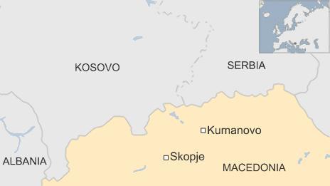 Map showing Kumanovo in Macedonia