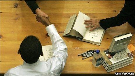 Barack Obama at a book signing