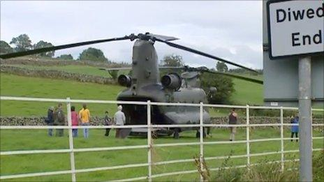 The Chinook in a field