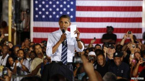 President Barack Obama speaks at the assembly plant at a General Motors Auto Plant in Hamtramck, near Detroit, defending his decision to bail out General Motors and promoting his economic policies ahead of the congressional elections in November