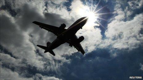 Plane silhouette in sky