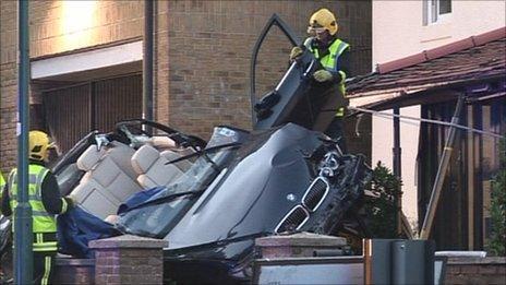 Crashed BMW car
