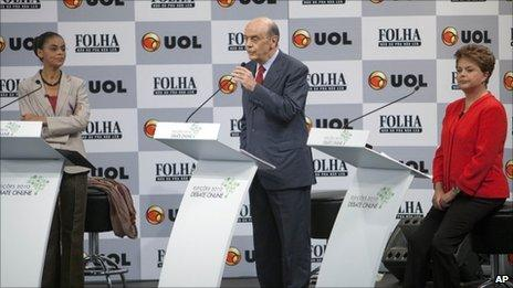 Marina Silva (left), Jose Serra (centre) and Dilma Rousseff (right) during the online debate