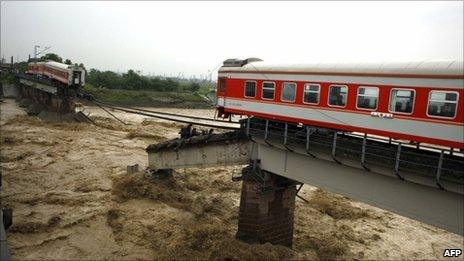 Train cars on the bridge on Sichuan province on 19 August 2010