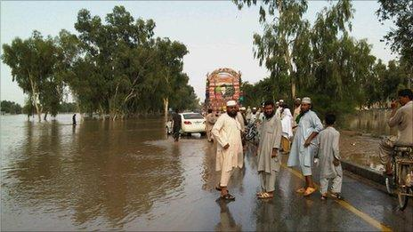 Flooded trunk road, north Pakistan