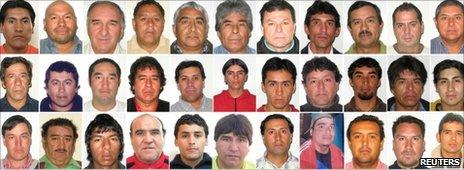 Composite photo of the 33 trapped miners