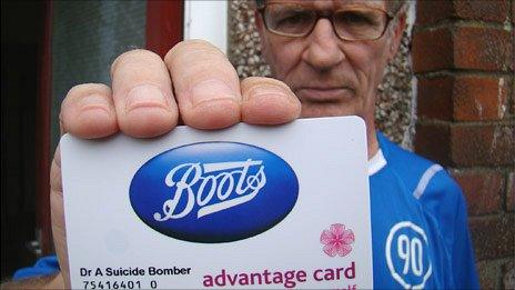 Andrew Adams with his Boots Advantage Card