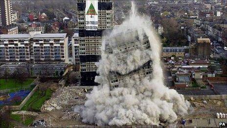 Demolition work at the Nightingale Estate in Hackney, East London
