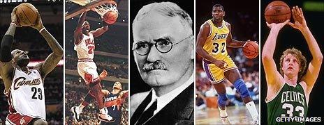 James Naismith and a series of basketball greats