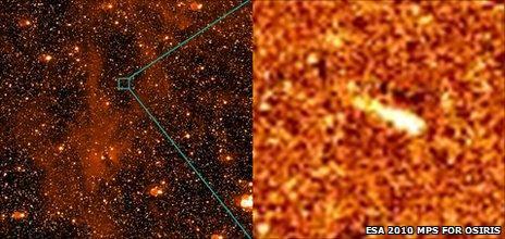 Rosetta image of P/2010 A2 (ESA 2010 MPS for OSIRIS)