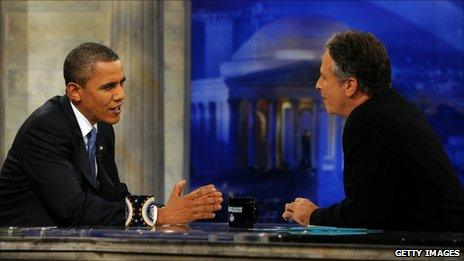 US President Barack Obama and John Stewart on The Daily Show (27 Oct 2010)