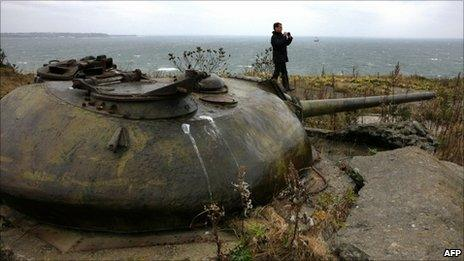 Russian President Dmitry Medvedev visits Soviet-era fortifications on the Kuril Islands, 1 November