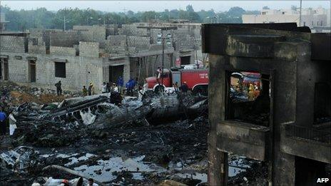 The crash site in Karachi
