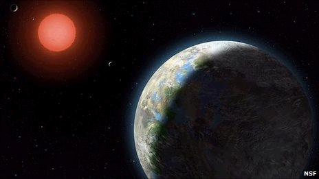 An artist's impression of Gliese 581g and its parent star (NSF)